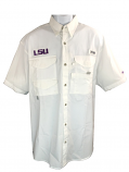 Columbia LSU Tigers Men's Bonehead Ultralite Cotton Fishing Shirt - White