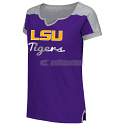 LSU Tigers Colosseum Vault V-Notch Short Sleeve Tee - Purple and  Heather Grey
