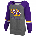LSU Tigers Women's Aerial Boatneck Fleece Bling Hoodie - Grey & Purple