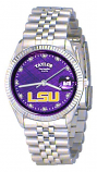 LSU Classic Silver Diamond Watch for Men with Purple Background and Silver Outline Custom Made by Taylor Watches