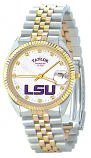 LSU Classic 2-Tone Diamond Watch for Men with White Background Custom Made by Taylor Watches