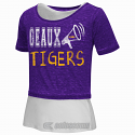 LSU Tigers GIRL'S Layered Megaphone Tee and Tank- Purple and White