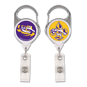 LSU Tigers Retractable 2-Sided Premium Fleur de Lis Reel Badge Holder