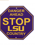 LSU Tigers Vinyl  LSU Country Stop Sign - Purple and Gold