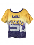 LSU Tigers Faded Sublimated Logo Crop Top - Purple and Gold
