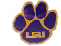 """LSU Tigers 6"""" Paw Car Magnet - Purple and Gold"""