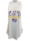 LSU Tigers Women's White Twisted Racer Back Tank Top