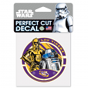 "LSU Tigers Star Wars R2D2 Perfect Cut Decal 4"" x 4"" - Purple and Gold"