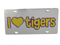 LSU Tigers I Heart Tigers Mirrored Laser Cut License Plate