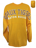 LSU Tigers Women's Long Sleeve Geaux Tigers Spirit Shirt - Gold