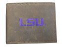 LSU Tigers Leather Bifold Wallet with Embroidered LSU - Brown