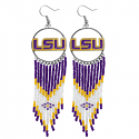 LSU Tigers Beaded and Enameled Dreamcatcher Earrings - Purple, Gold & White