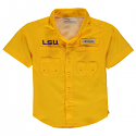 Columbia LSU Boy's Youth Tamiami Performance Fishing Shirt - Gold