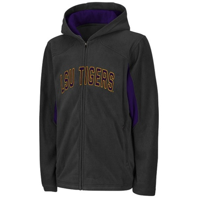 Colosseum Athletics LSU Tigers YOUTH Charcoal and Purple Full Zip Fleece Hoody Jacket