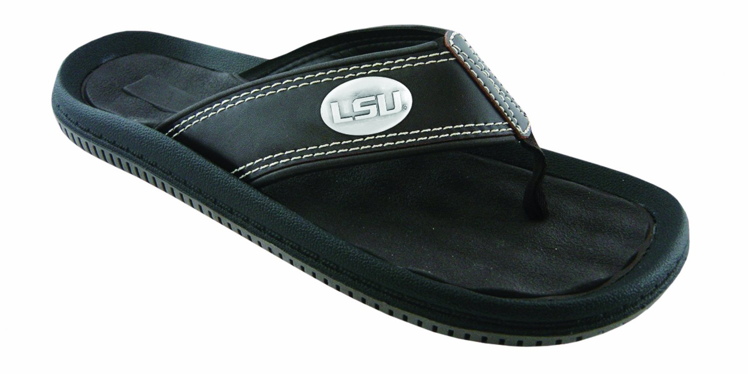LSU Tigers Brown Men's Waffle Flip Flop with Gun Metal Concho